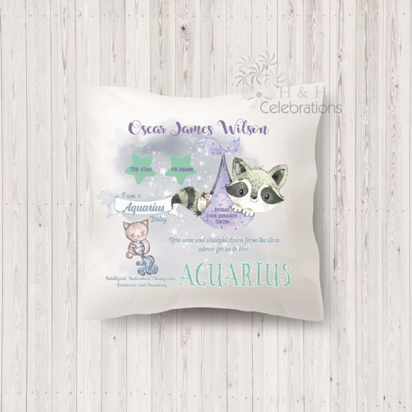 Aquarius - Baby Star Sign Keepsake Cushion